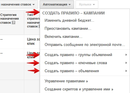 Автоматизация в Adwords